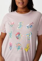 Cotton On - Curve graphic tee Australian natives - lilac