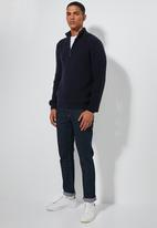 Superbalist - Quarter zip pullover chunky ribbed knit - navy