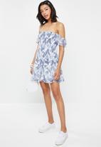 Cotton On - Woven pia shirred mini dress -  blue & white