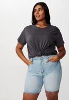 Cotton On - Curve graphic tee simplicity - charcoal
