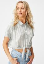 Cotton On - Epic tie front short sleeve shirt - washed cloud blue