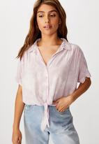 Cotton On - Epic tie front short sleeve shirt - lilac