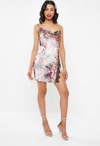 Missguided - Strappy cowl lace split mini dress - multi