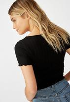 Cotton On - Tatum square neck wide rib short sleeve top - black