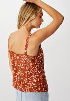 Cotton On - Pixie button through cami millie floral - rust