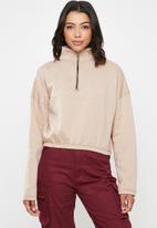 Missguided - Zip front high neck gathered waist sweat - beige
