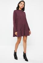Missguided - Jersey tiered long sleeve smock dress - burgundy