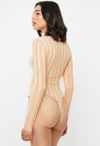 Missguided - Square neck extreme rib bodysuit - peach