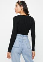 Missguided - Square neck extreme rib bodysuit - black