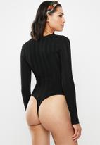 Missguided - Square neck extreme rib bodysuit - black