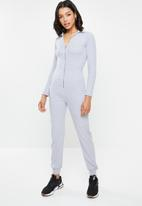 Missguided - Zip collared ribbed jumpsuit - grey