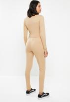 Missguided - Wrap top long sleeve legging lounge set - brown