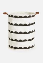 Sixth Floor - Half moon laundry basket - black & white