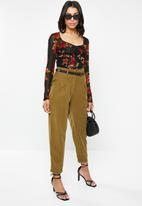 Missguided - Mesh long sleeve corset seam floral print top - multi