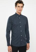 Selected Homme - Matt slim fit all over print shirt - navy