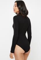 Missguided - V-neck ribbed bodysuit - black