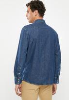 Wrangler - Denim regular fit long sleeve shirt - blue