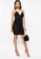 Missguided - Clear strap cami ruched mini dress - black