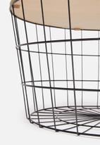 H&S - Basket side table - natural & black