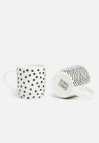 SIAKI - Whimsy mug set of 4 - black & white