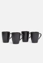 Excellent Housewares - Gold rimmed mug set of 4 - black