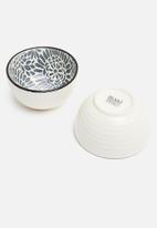Excellent Housewares - Whimsy bowl set of 4 - black & white