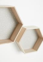 H&S - Hexagon shelf set of 2 - grey