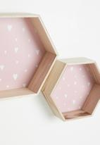 H&S - Hexagon shelf set of 2 - pink