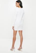 Missguided - Petite ruffle wrap over mini dress - white
