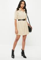 Missguided - Petite cord smock shirt dress - neutral