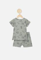 Cotton On - Hudson short sleeve pj set - silver sage