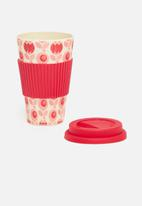 Excellent Housewares - Bamboo mug - red