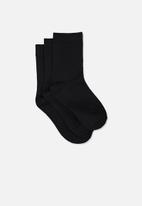 Cotton On - Kids 3 pack crew socks - black