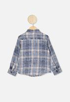Cotton On - Fairfax long sleeve shirt - denim washed check