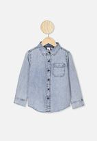 Cotton On - Fairfax long sleeve shirt - mid snow denim