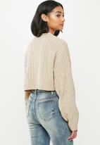 Missguided - Petite cable batwing jumper coord - beige