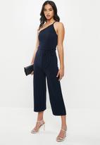 Missguided - Petite one shoulder jumpsuit - navy