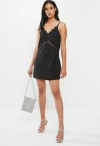 Missguided - Petite lace insert cami dress - black