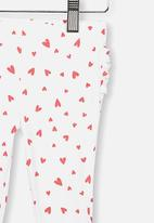 Cotton On - Quinn ruffle heart leggings - white & red