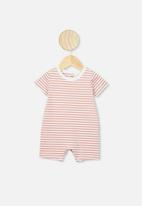 Cotton On - The short sleeve romper - white & pink