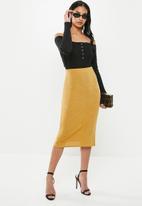 Missguided - Petite slinky slip midi skirt - mustard