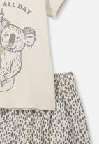 Cotton On - Hudson short sleeve pj set - beige & grey