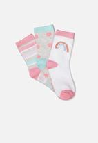 Cotton On - Kids 3 pack crew socks - sweet blush rainbow