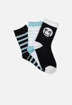 Cotton On - Kids 3 pack crew socks - phantom smiley