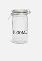 Excellent Housewares - 1000ml storage jar - clear