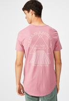 Factorie - Curved graphic T-shirt - heather rose/beyond