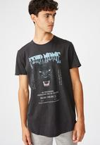 Factorie - Fear none curved graphic T-shirt - washed black
