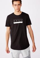 Factorie - Bleecker curved graphic T-shirt - black