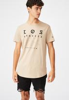 Factorie - Los curved graphic T-shirt - humus
