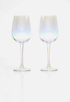Excellent Housewares - Iridescent wine glass set of 2 - clear